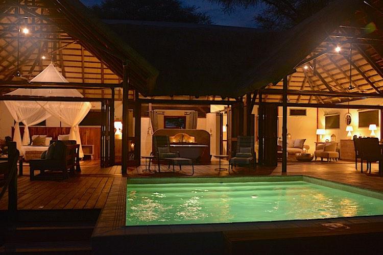 Chiawa camp Safari Suite evening