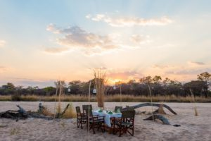 Dinner in the river bed, Nkonzi Camp