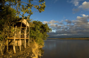 Island bush camp room with river view