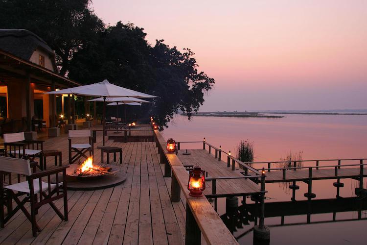 Royal Zambezi, terrace at night