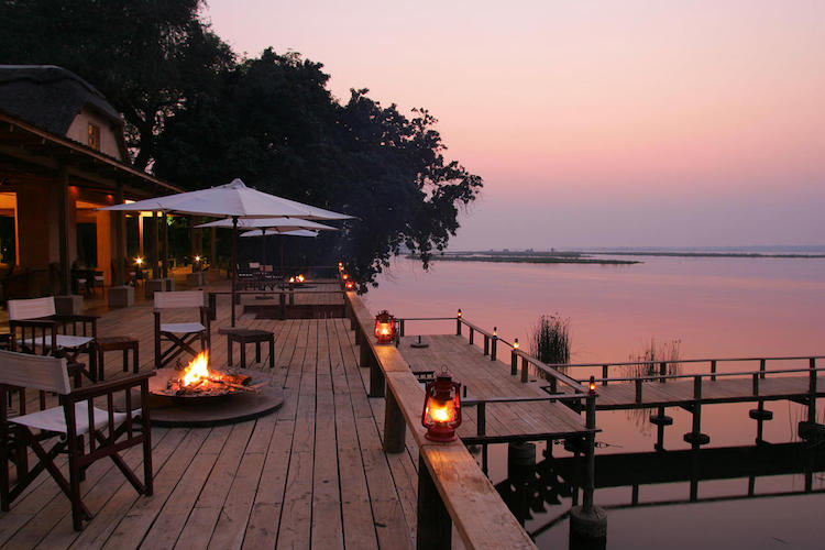 Royal Zambezi, terrace at night