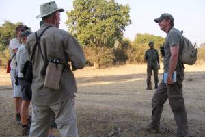 Safety briefing before a walking safari at Nkonzi Camp