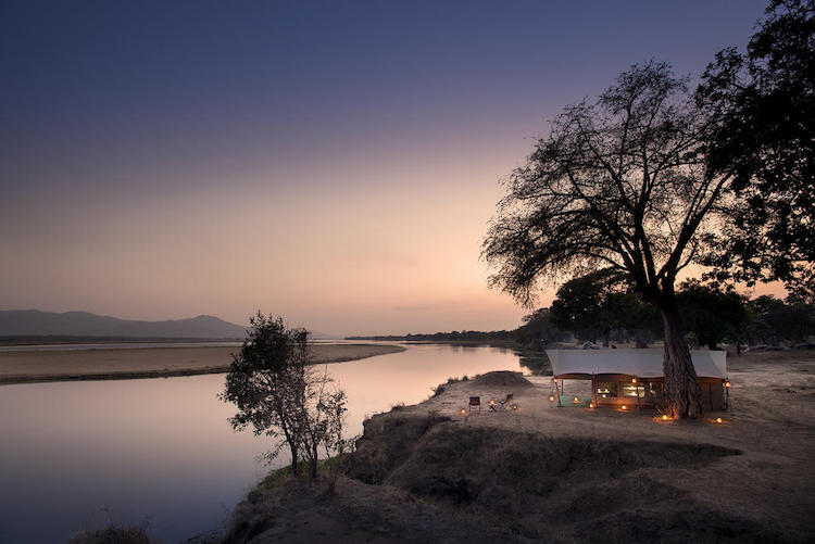 Camp at night, mana pools