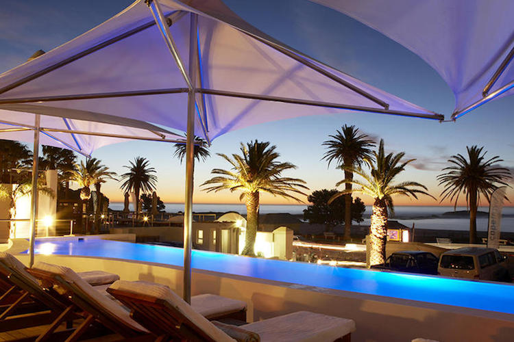 the bay hotel pool at night