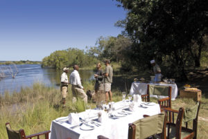 Africa; Zambia; Sanctuary Sussi and Chuma; Bush lunch